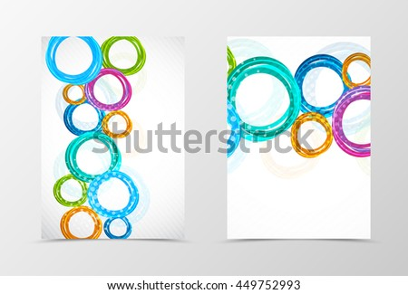 Front and back bubbles flyer template design. Abstract template with colorful circles. Vector illustration - stock vector