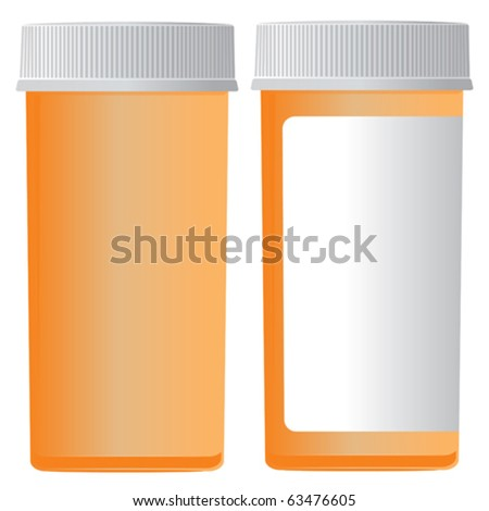 Front and back of a medicine bottle. - stock vector