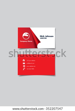 Front and back of a red and white name card with creative three dimension peel off effect at to reveal company name and logo. Vector illustration isolated on gray background. - stock vector