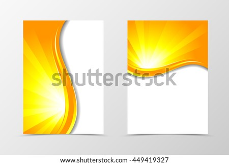 Front and back wave flyer template design. Abstract template in orange color with red line. Vector illustration - stock vector