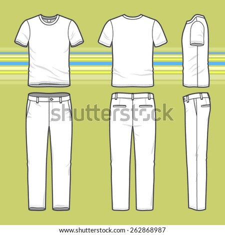 Front, back and side views of men's set. Blank templates of t-shirt and pants. Casual style. Vector illustration on the striped background for your fashion design.  - stock vector
