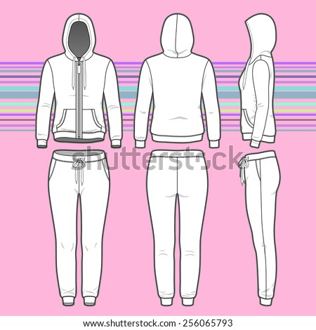 Front, back and side views of women's clothing set. Blank templates of hoodi with zipper and sweatpants. Sport style. Vector illustration on the striped background for your fashion design.  - stock vector