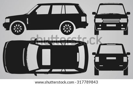 Front, back, top and side SUV projection. Flat illustration for designing icons  - stock vector