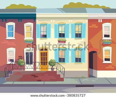 Front doors to the house.  Sunny city street  Vector illustration. Cartoon style - stock vector