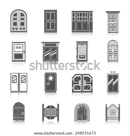 Front entrance door modern house room entrance and safe icons black set isolated vector illustration - stock vector