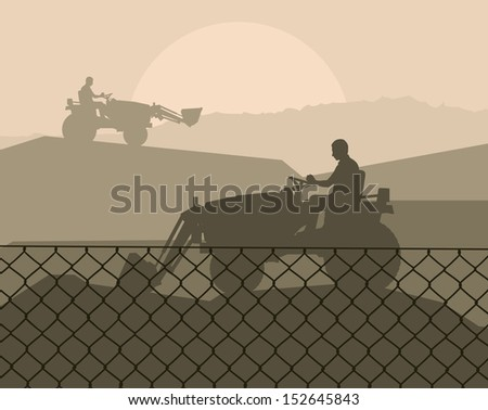 Front loader vector abstract background concept with wired fence - stock vector
