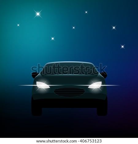 Front of a car with headlights and stars, eps10 vector - stock vector