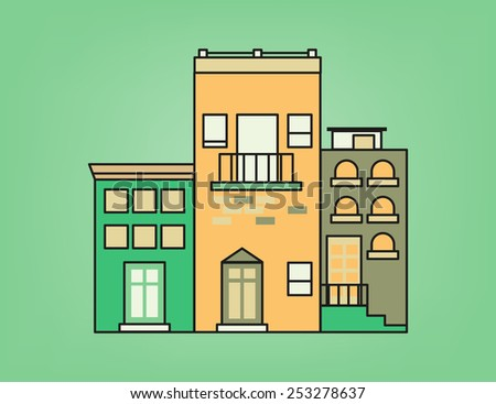 Front of colorful small town in green and yellow tone - stock vector