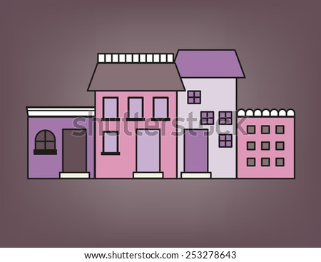 Front of colorful small town in purple tone - stock vector