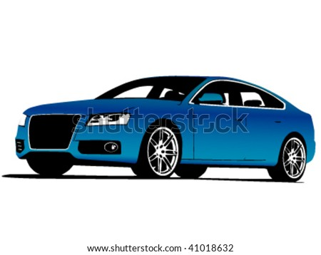 Front-side view of blue exclusive car isolated on white - vector illustration - stock vector