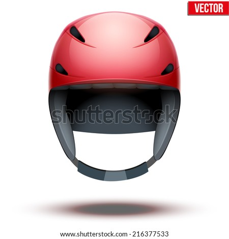 Front view of Classic red Ski helmet. Winter mountain vacation. Vector isolated on white background - stock vector