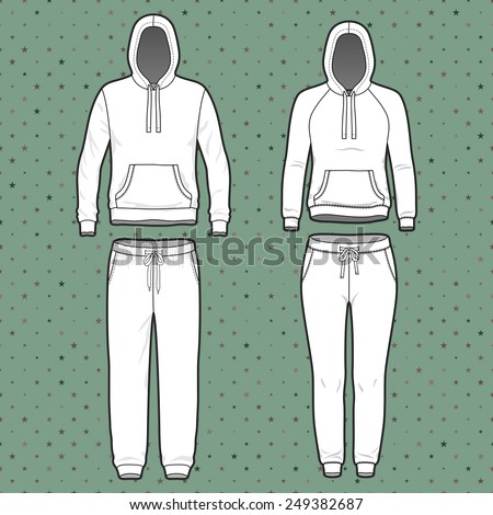 Front view of men's and women's clothing set. Blank templates of hoodi and sweatpants. Sport style. Vector illustration on the spotted background for your fashion design.  - stock vector