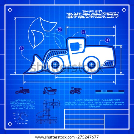 Front wheel loader symbol stylized blueprint technical drawing. White symbol on blue grid background - stock vector