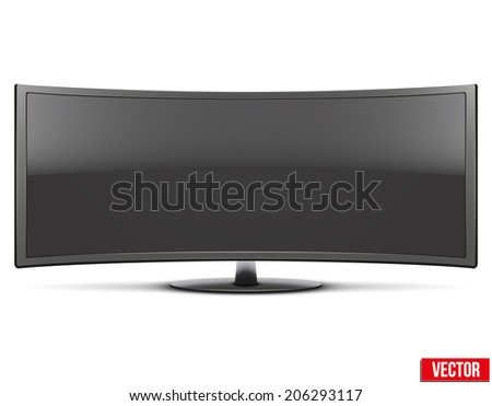 Frontal view of big curved widescreen led or lcd tv monitor. Vector Illustration isolated on white - stock vector