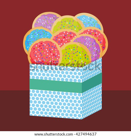 Frosted sugar cookies, Set Italian Freshly baked sugar cookies with pink green violet blue frosting and colorful sprinkles. Present Gift box with biscuits. Bright colors on brown background. Vector - stock vector
