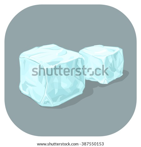 Frozen water cubes of ice. A vector illustration icon of Frozen Blue Ice cubes. Flat icon for cooling drinks concept. - stock vector