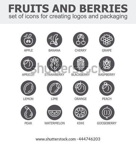 Fruit and berries icon collection - vector illustration. Fruit and berries icons set for creating logos and packaging. Fruit and berries line icons. - stock vector