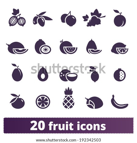 Fruit and berry icons: vector set of food signs - stock vector
