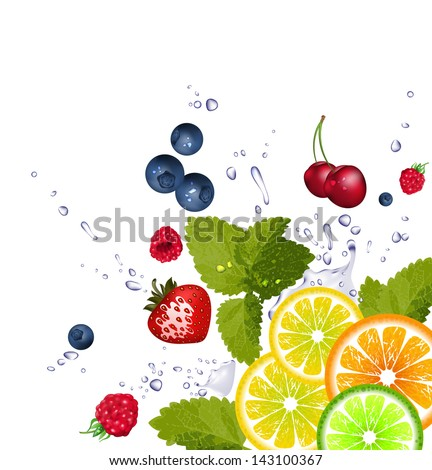 fruit and splash of water - stock vector