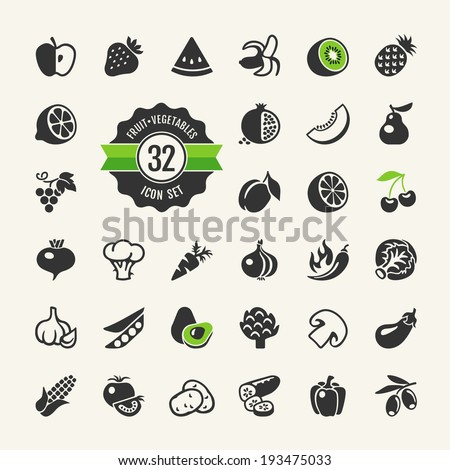 Fruit and Vegetables vector web icon set - stock vector