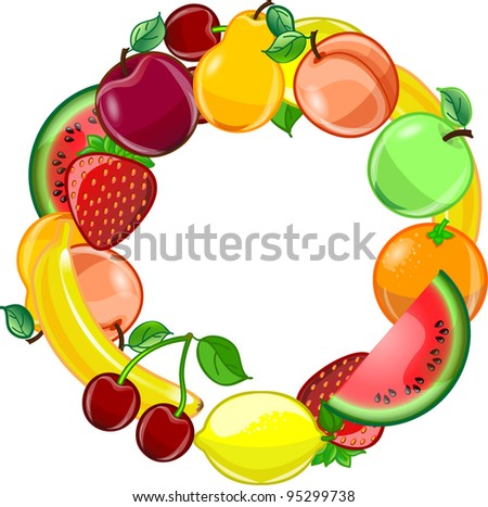 Fruit background, vector - stock vector