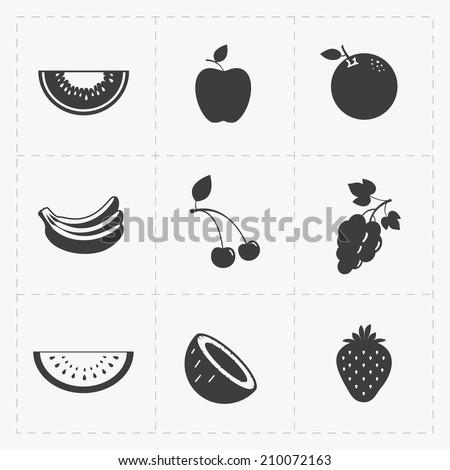 Fruit Black Icon set on White - stock vector