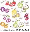 Fruit doodles seamless vector - stock vector