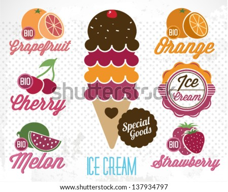 Fruit Flavored Ice Cream Illustration in Retro Style - stock vector