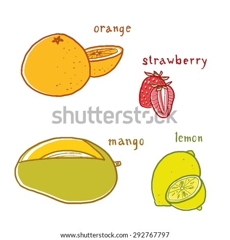 Fruit flavors drawings vector set with labels - stock vector