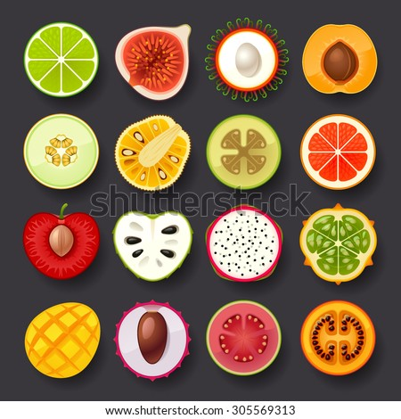 fruit icon set-2 - stock vector