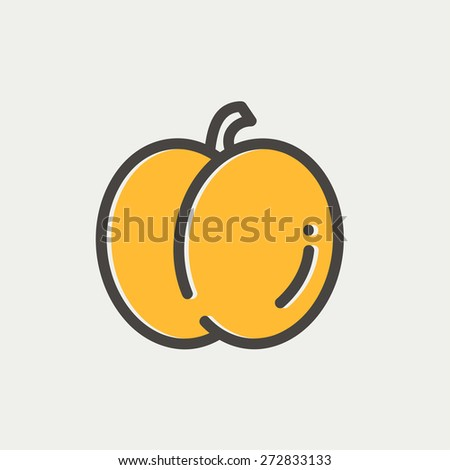 Fruit icon thin line for web and mobile, modern minimalistic flat design. Vector icon with dark grey outline and offset colour on light grey background. - stock vector