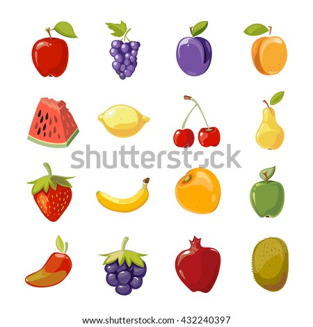 Fruit icons in cartoon style. Fruit for healthy life and cartoon sweet nature fruit. Vector illustration - stock vector