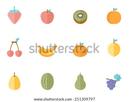 Fruit icons in flat color style - stock vector