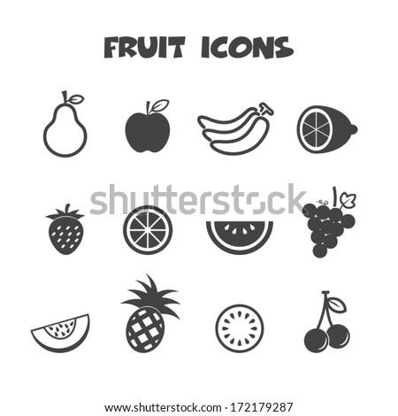 fruit icons, mono vector symbols - stock vector