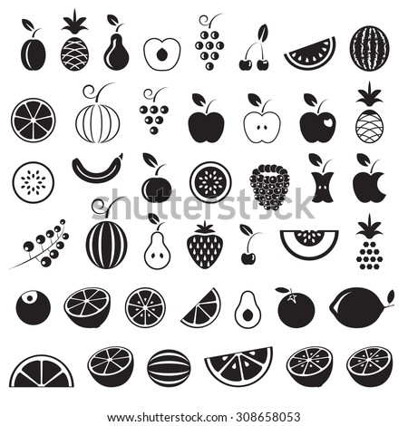 Fruit icons set, black isolated on white background, vector illustration. - stock vector