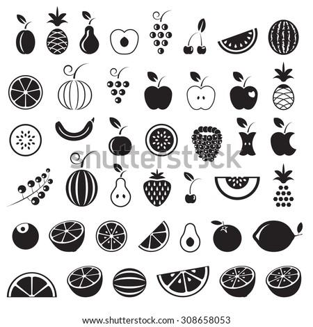 Fruit icons set, black isolated on white background, vector illustration. - stock vector