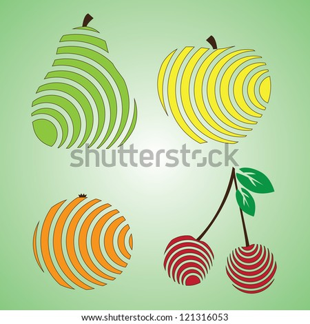 Fruit Icons Set - Isolated On Background Vector illustration, Graphic Design Editable For Your Design. Logo Symbol - stock vector