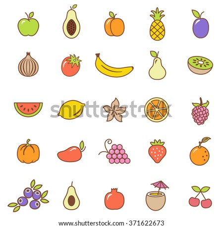 Fruit  icons set.Vector - stock vector