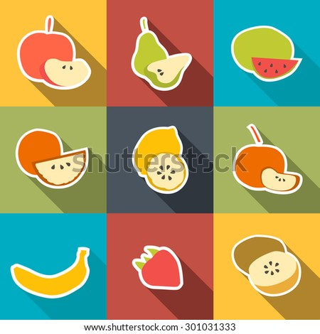 Fruit Icons Sticker Set. Vector illustration.  - stock vector