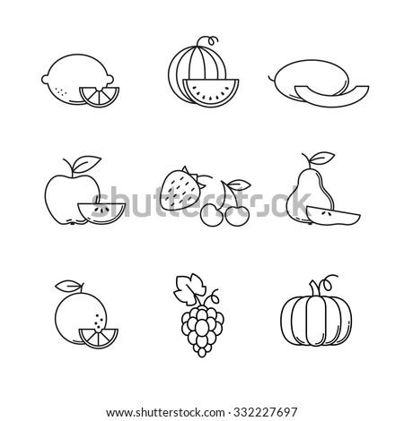 Fruit icons thin line art set. Black vector symbols isolated on white. - stock vector