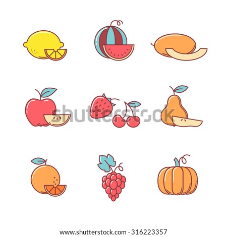 Fruit icons thin line set. Flat style color vector symbols isolated on white. - stock vector