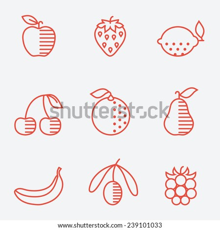 Fruit icons, thin line style, flat design - stock vector