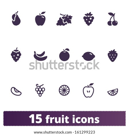 Fruit icons: vector set of food signs - stock vector