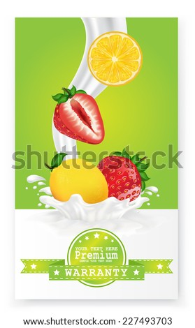 Fruit in milk splash over green banners. Vector.  - stock vector