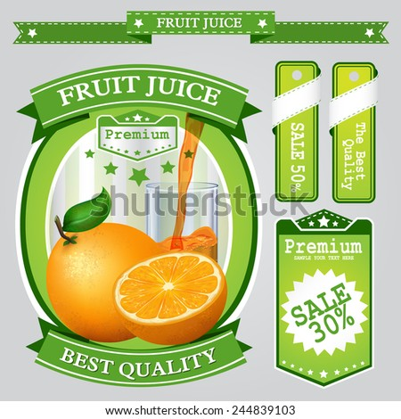 Fruit juice Label vector visual, ideal for fruit juice. Can drawn with mesh tool. Fully adjustable & scalable. Vector illustration  - stock vector