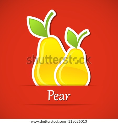 Fruit label. Pear. Vector illustration. - stock vector