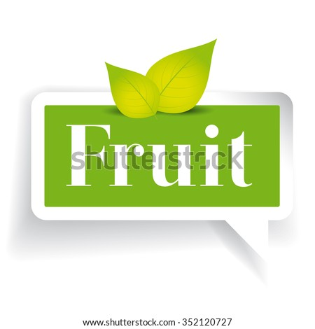 Fruit label vector with leaves - stock vector