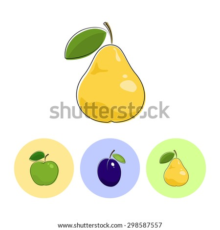 Fruit Pear  on White Background , Set of Three Round Colorful Icons  Apple, Plum and Pear, Vector Illustration - stock vector