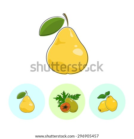 Fruit Pear  on White Background , Set of Three Round Colorful Icons Pear , Papaya and Quince , Vector Illustration - stock vector