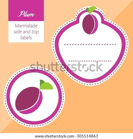 Fruit, plum label graphic - stock vector